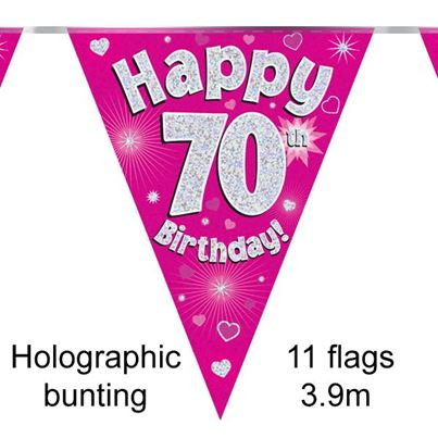 Happy 70th Birthday Bunting Pink