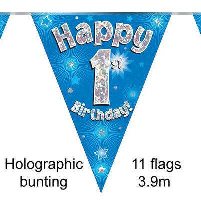 Happy 1st Birthday Bunting Blue