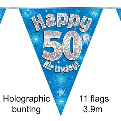 Happy 50th Birthday Bunting Blue