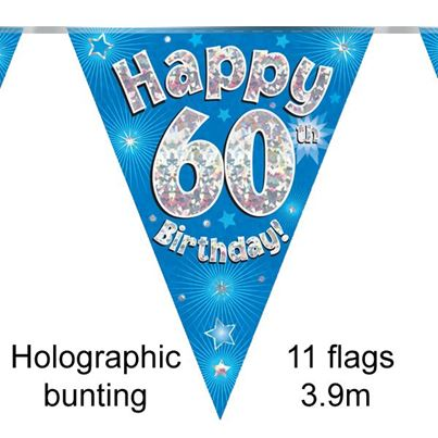 Happy 60th Birthday Bunting Blue