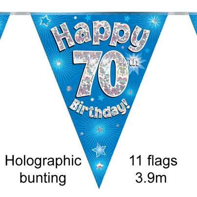 Happy 70th Birthday Bunting Blue