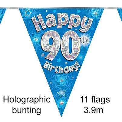 Happy 90th Birthday Bunting Blue