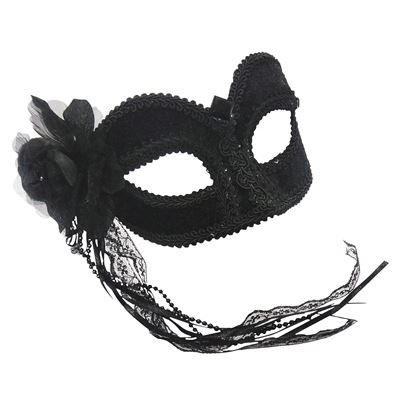 Bristol Novelty Black Velvet Eye Mask with Flower