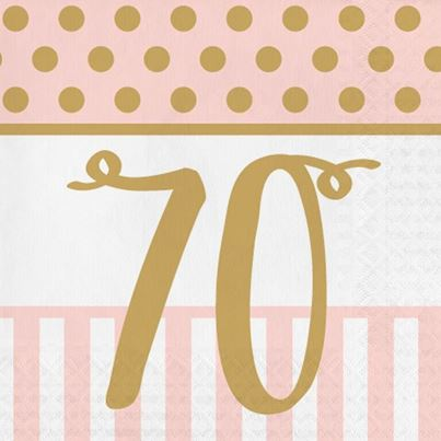 70th Pink & Gold Napkins