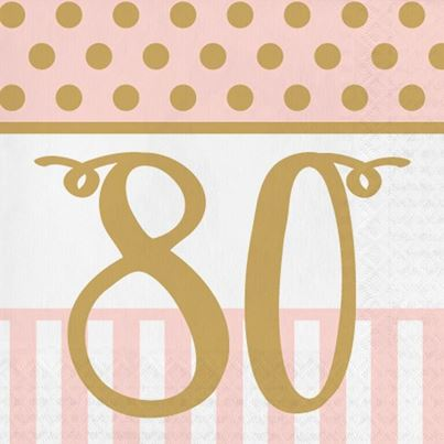 80th Pink & Gold Napkins