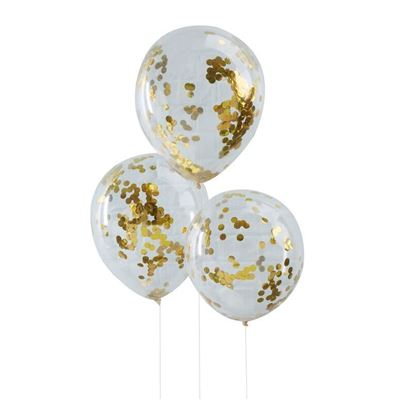 Ginger Ray 5 Gold Confetti Balloons