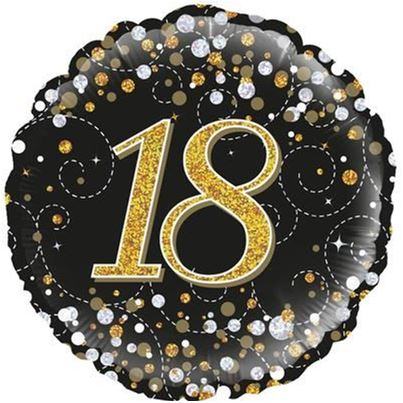 oaktree 18th Birthday Sparkling Black & Gold Foil Balloon