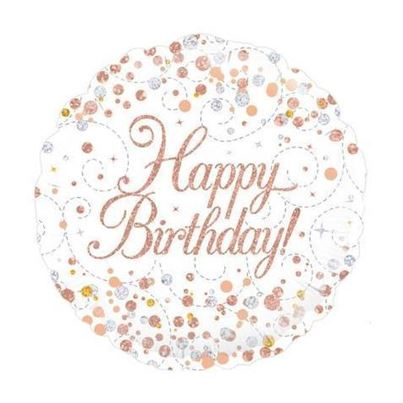 Oaktree Happy Birthday white &Rose Gold Foil Balloon