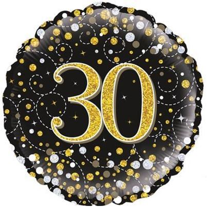 Oaktree 30th Birthday Sparkling Black & Gold Foil Balloon