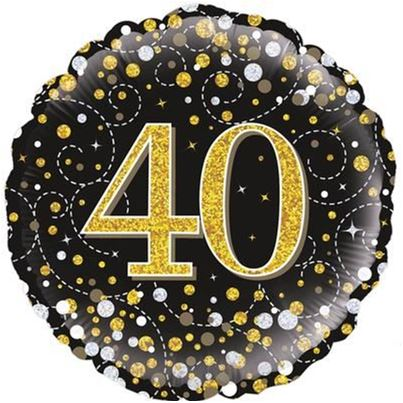 40th Birthday Sparkling Black & Gold Foil Balloon