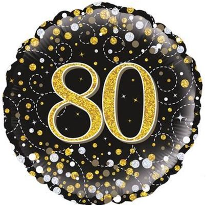 Age 80 Black And Gold Birthday Foil