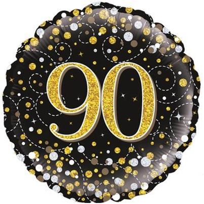 90th birthday Sparkling Black & Gold Foil Balloon