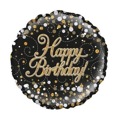 Happy Birthday Sparkling Black & Gold Foil Balloon