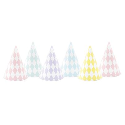 Pastel Mixed Party Hats 6pk