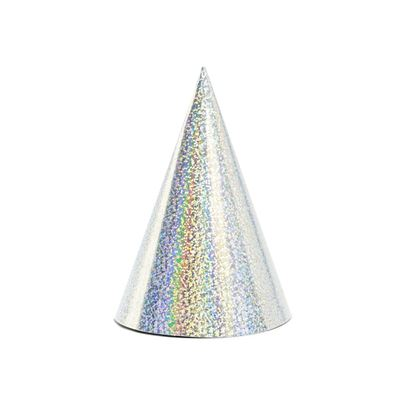 PartyDeco Holographic Silver Party Hats
