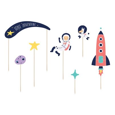 PartyDeco Space Cake Topper 7-piece