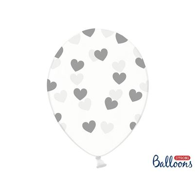 PartyDeco Crystal Clear Hearts Silver Inflated