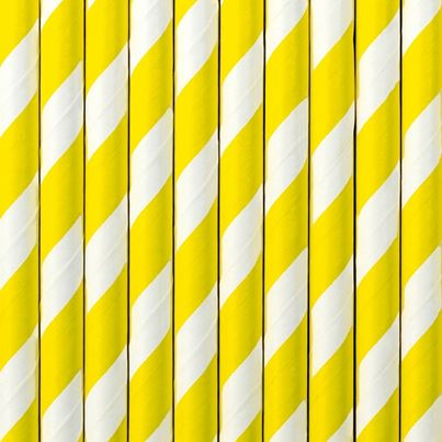 PartyDeco Yellow Paper Straws