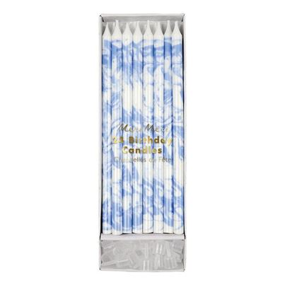 Blue Marbled Candles 24pk
