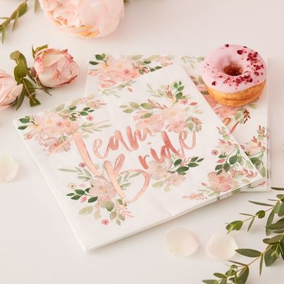 'Team Bride' Floral Napkins 16pk
