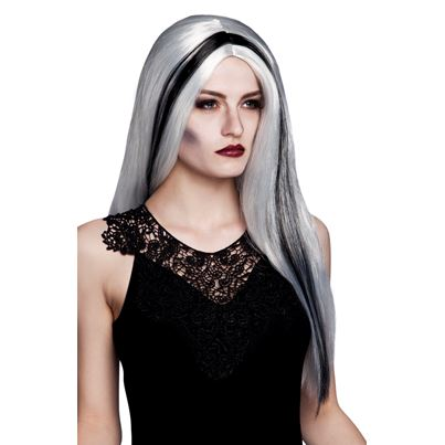 Aurora Witch Wig Grey/Black Streak