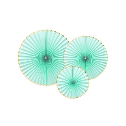 PartyDeco Light Mint Hanging Rosettes