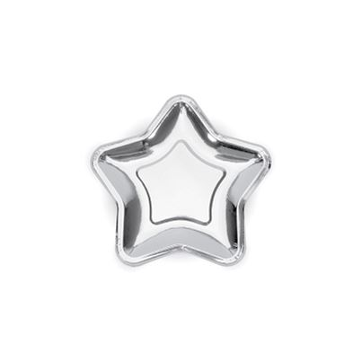 PartyDeco Silver Star Shaped Plates 6pk