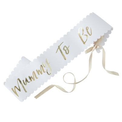 'Mummy To Be' Gold and White Sash
