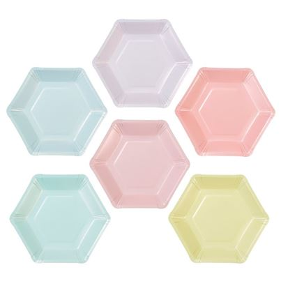 Multi-colour Pastel Hexagonal Plates 12pk