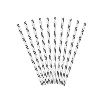 PartyDeco Paper Straws Silver