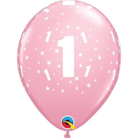 Age 1 Pink 6pk with Helium