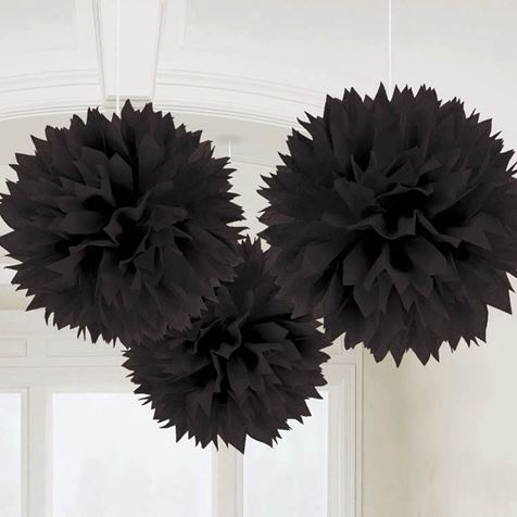 3 Fluffy Decorations Black