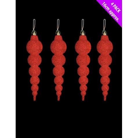 Red Icicle Baubles