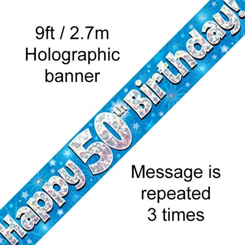 Happy 50th Birthday Banner Blue