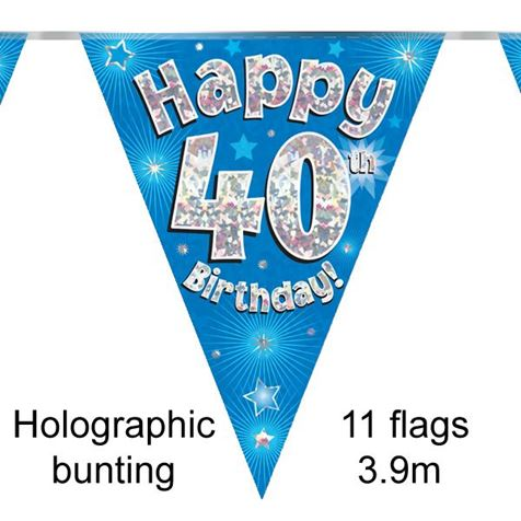 Happy 40th Birthday Bunting Blue