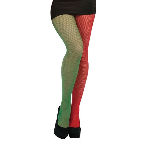 Green and Red Fishnet Tights