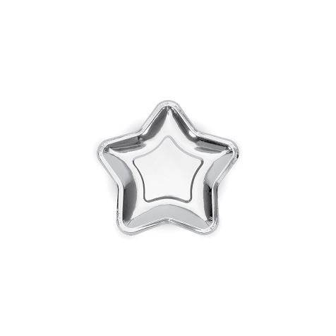 Silver Star Shaped Plates 6pk
