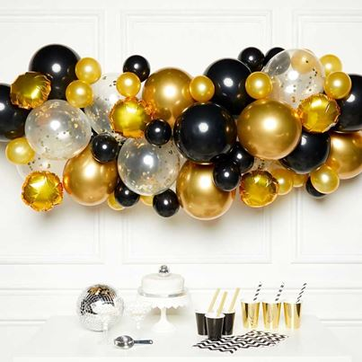 Amscan Black and Gold Balloon Garland Kit