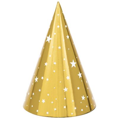 PartyDeco Gold Starry Party Hats 6pk