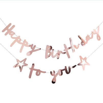 A Party Palace 'Happy Birthday To You' Rose Gold Bunting