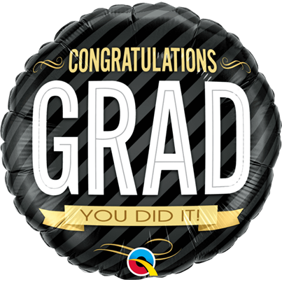 Qualatex Congratulation Grad Stripes Foil