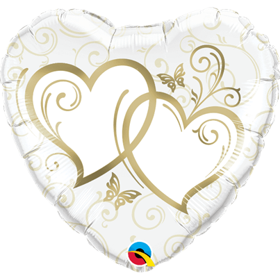 Qualatex Gold Entwined Hearts foil