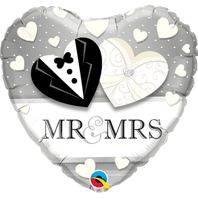'Mr and Mrs' Heart Foil Balloon
