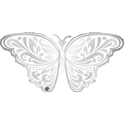 Qualatex Silver and Pearl Butterfly Supershape