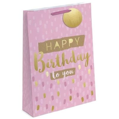 Crosswear Pink and Gold Birthday Gift Bag