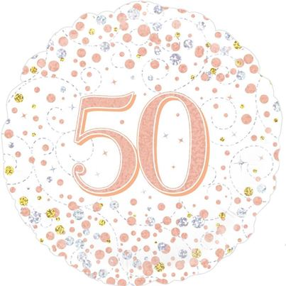 Age 50 Rose Gold Birthday Foil