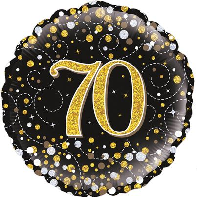70th Birthday Sparkling Black