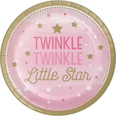 Twinkle Little Star Pink Plates