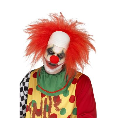 Clown Wig , Red With Bald Head