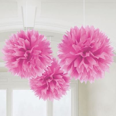 Amscan 3 Fluffy Decorations Pink